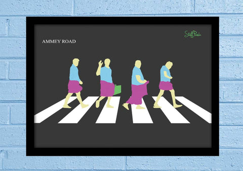 Cool Abstract Funny South Indian Abbey Road Glass frame posters Wall art