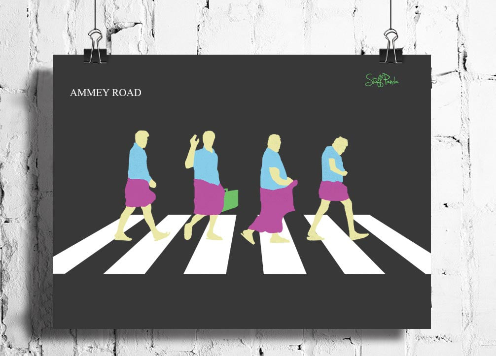 Cool Abstract Funny South Indian Abbey Road wall posters, art prints, stickers decals - stuffpanda - 1