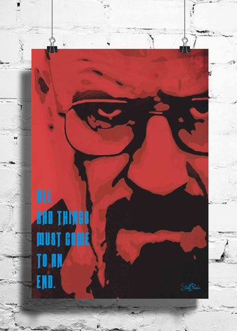 Cool Funky Breaking Bad wall posters, art prints, stickers decals Red face