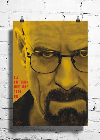 Cool Funky Breaking Bad wall posters, art prints, stickers decals yellow face