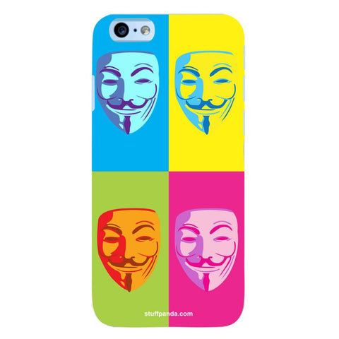 Designer Cool funky Anonymous Face hard back cover / case for Iphone 6