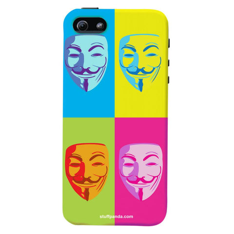 Designer Cool funky Anonymous Face hard back cover / case for Iphone 5 / 5s
