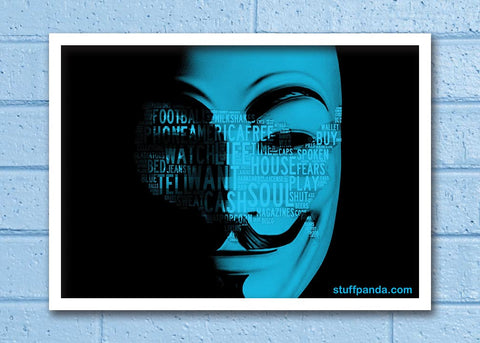 Cool Abstract Funky Anonymous face 2 blue Wall Glass Frame posters Wall art