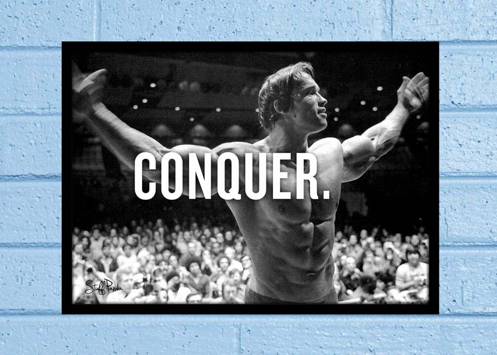 Cool Abstract Motivation Gym workout Arnold Conquer Wall Glass Frame posters Wall art - stuffpanda - 1