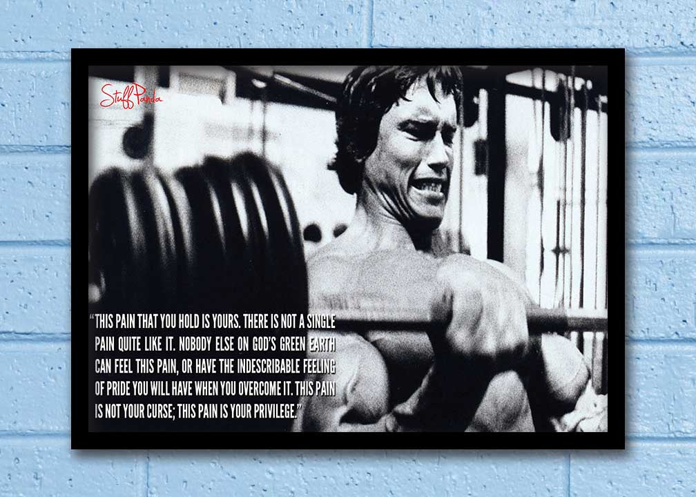 Cool Abstract Motivation Gym workout Arnold This Pain Wall Glass Frame  posters Wall art