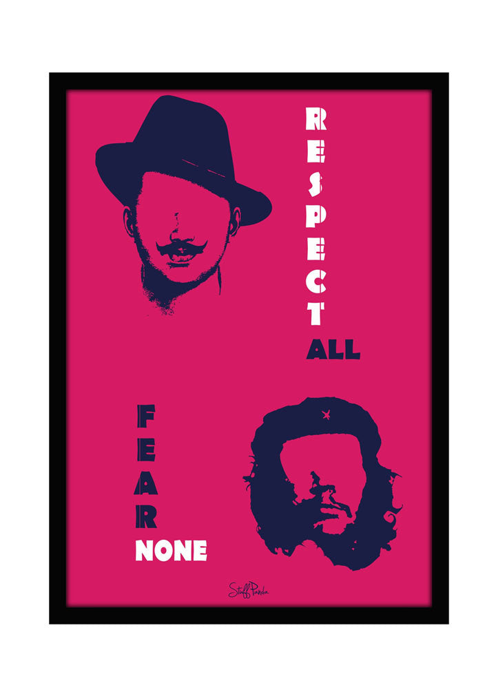 cool funky bhagat cheguavera wall glass frame posters wall art pink