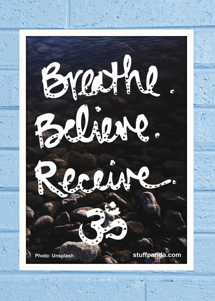 Cool Abstract Motivation Breathe Believe Wall Glass Frame posters Wall art - stuffpanda - 1