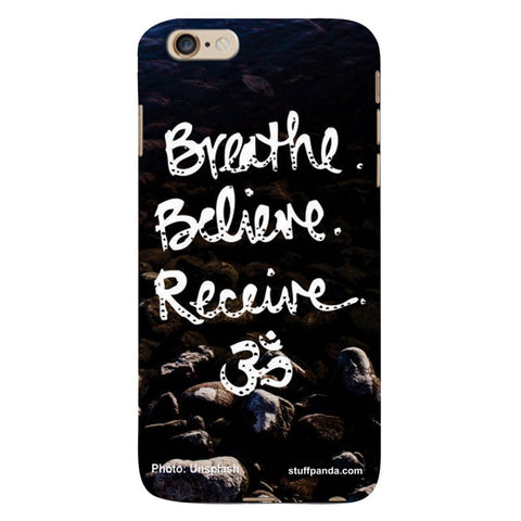 Designer Cool funky Breath Belive Om hard back cover / case for Iphone 6 plus