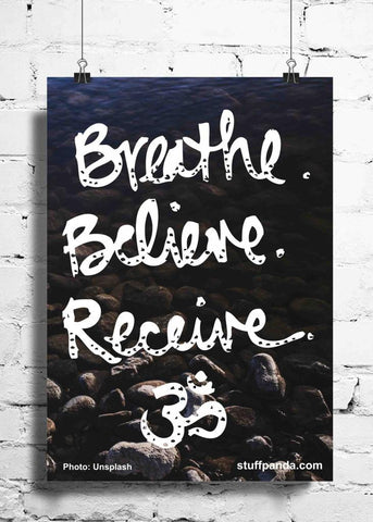 Cool Abstract Motivation Breathe Believe wall posters, art prints, stickers decals