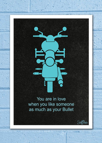 Cool Abstract Biker Bike Bullet You are in wall Wall Glass Frame posters Wall art