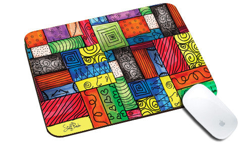 Cool design Abstract Slant lines multicolor pattern natural rubber mouse pad