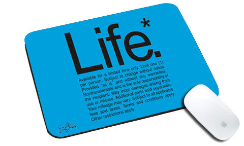 Cool design funny Life natural rubber mouse pad Blue - stuffpanda