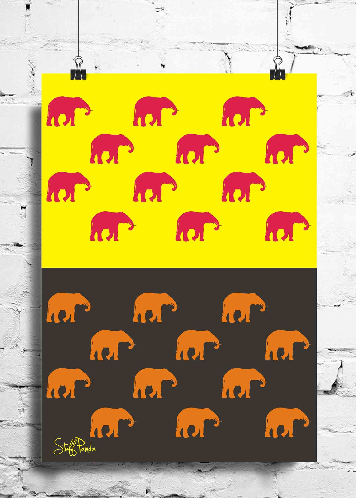 Cool Funky Abstract ethnic Elephants many wall posters, art prints ...