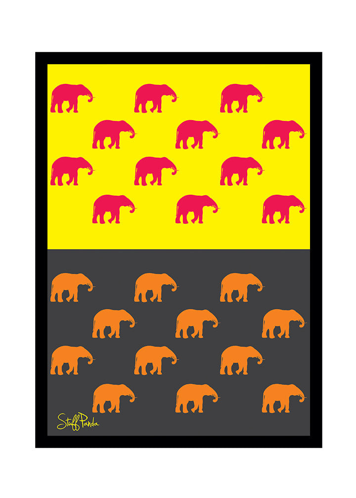 Cool Funky Abstract ethnic Elephants many Glass frame posters Wall ...