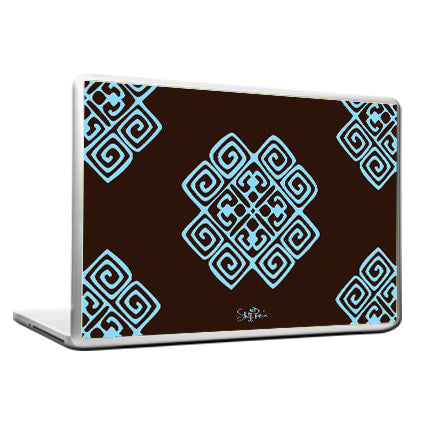 Cool Abstract Ethnic Blue brown pattern Laptop cover skin vinyl decals