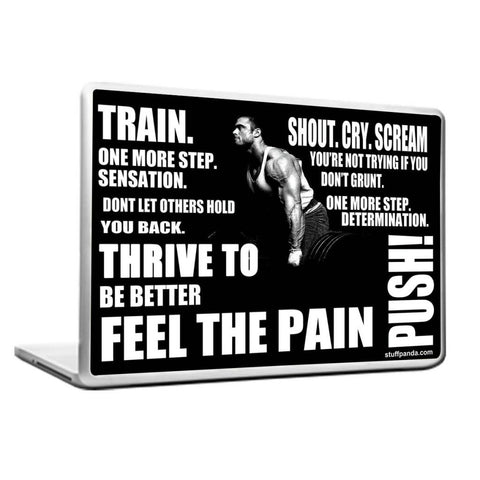 Cool Abstract Motivation Gym workout Feel the Pain Laptop cover skin vinyl decals