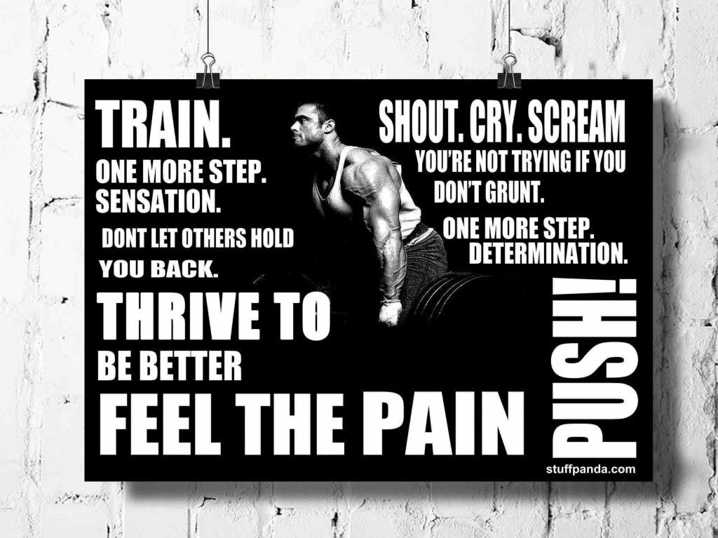 Cool Abstract Motivation Gym Feel the Pain Push wall posters, art prints, stickers decals - stuffpanda - 1