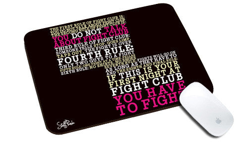 Cool design Abstract Motivation Fight club rules natural rubber mouse pad