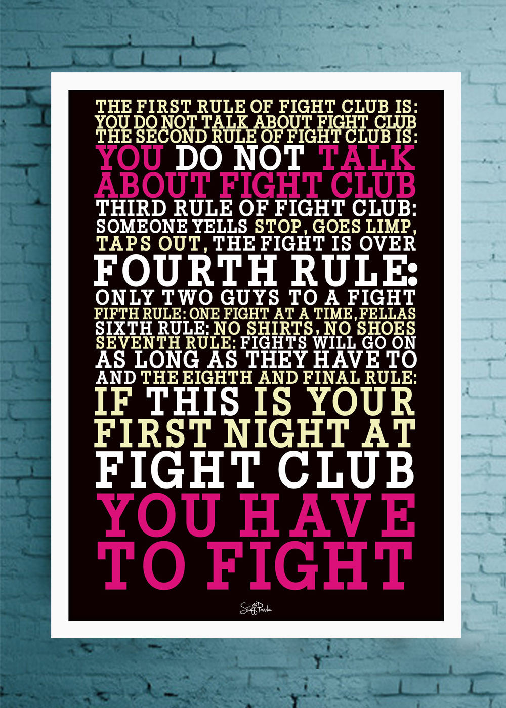 Cool Abstract Motovation Fight club rules Glass frame posters Wall art - stuffpanda - 1