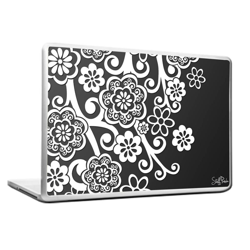 Cool Abstract Quirky Flowers Grey Laptop cover skin vinyl decals - stuffpanda - 1