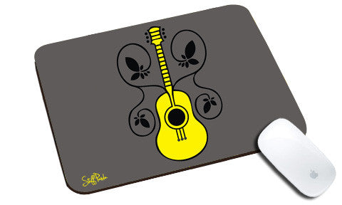 Cool design Retro Music Guitar with Flowers natural rubber mouse pad - stuffpanda
