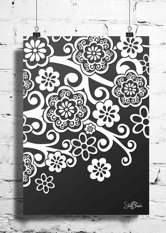 Cool Abstract Flowers Gray White wall posters, art prints, stickers decals