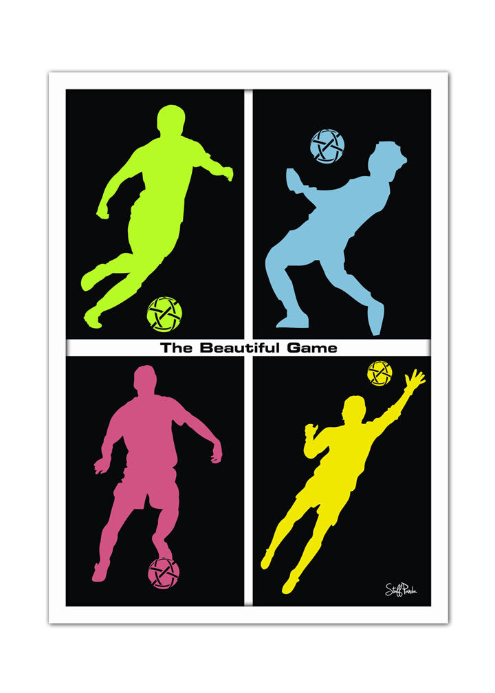 Cool Funky sports Soccer boxes Wall Glass Frame posters, Wall art black - stuffpanda - 1