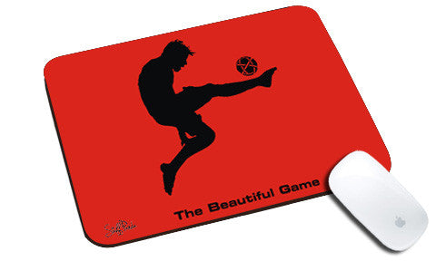 Cool design Football The beautiful game natural rubber mouse pad Red
