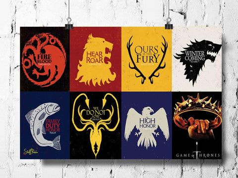 Cool Abstract Game of Thrones Box flags wall posters, art prints, stickers decals