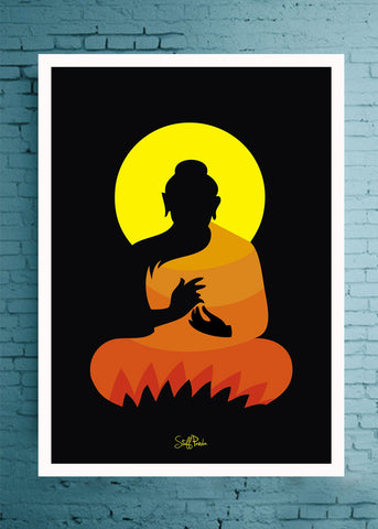 Cool Abstract Ethnic Gautam Buddha Glass frame posters Wall art