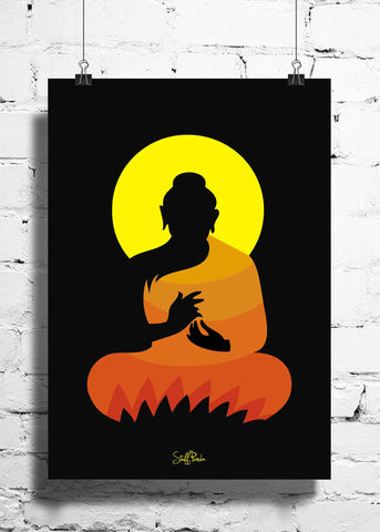 Cool Abstract Ethnic Gautam Buddha wall posters, art prints, stickers decals