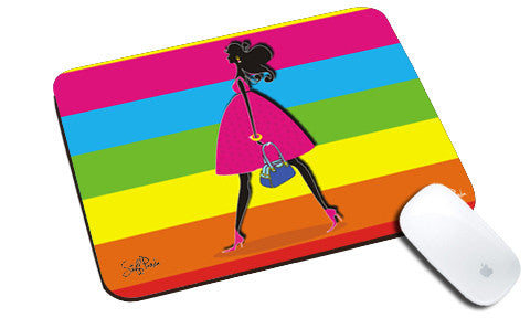 Cool design abstract Girl walking natural rubber mouse pad - stuffpanda