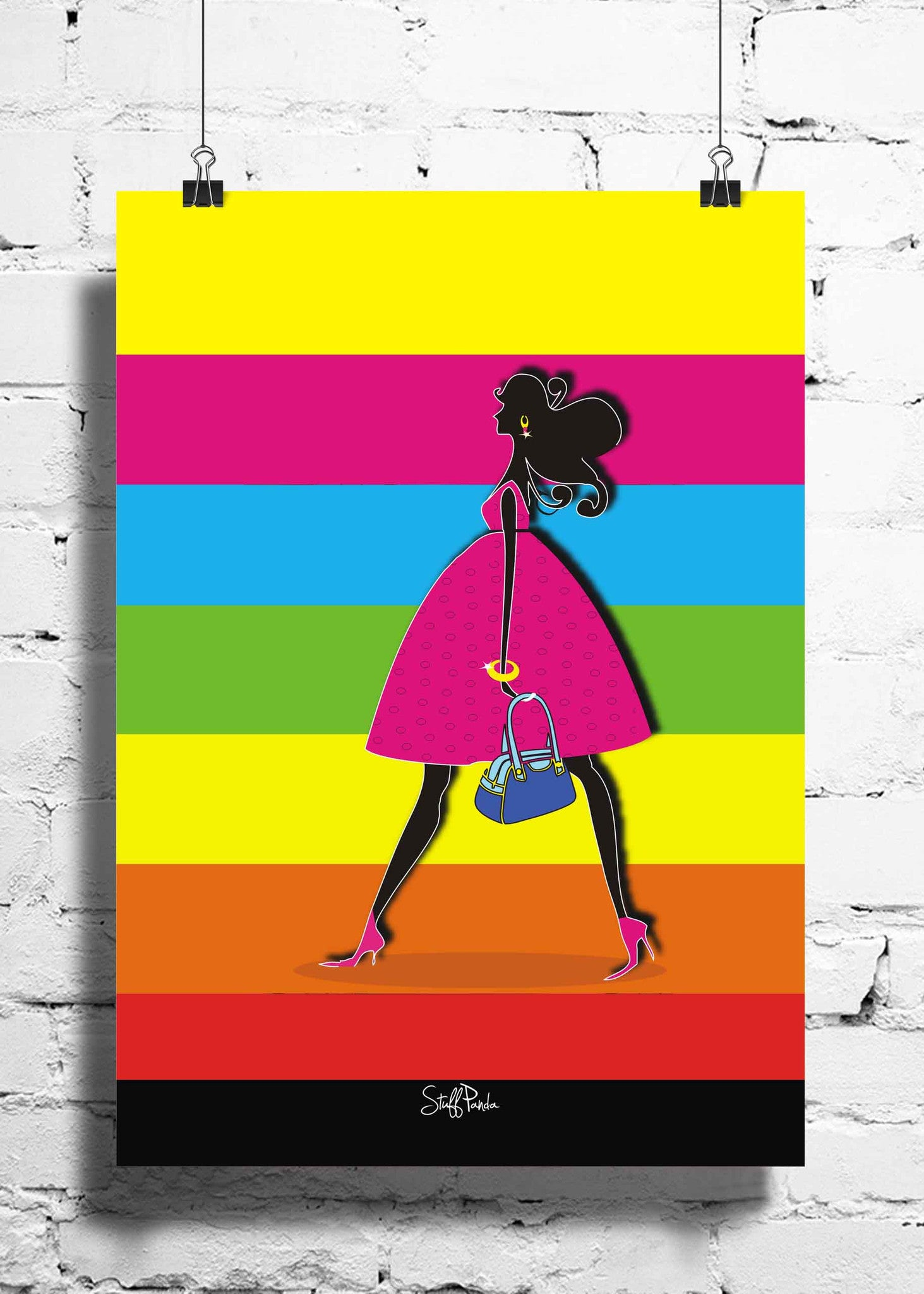 Cool Funky abstract Girl walking wall posters, art prints, stickers decals - stuffpanda - 1