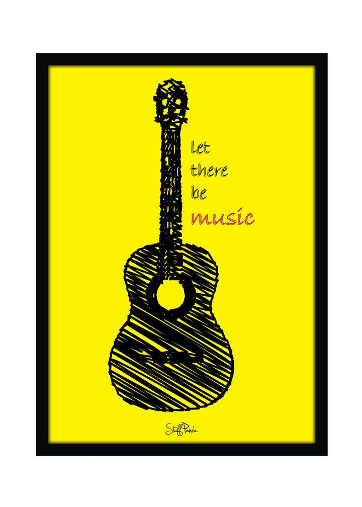 Cool Funky Music Yellow Guitar Wall Glass Frame posters, Wall art ...