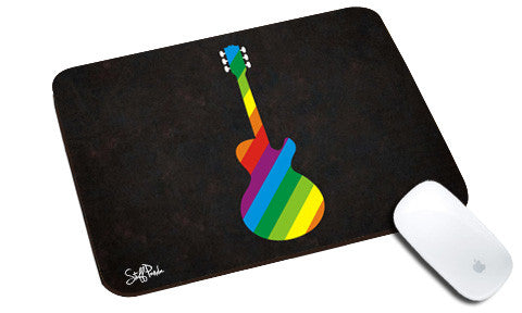 Cool design Music Multi color Guitar natural rubber mouse pad single black - stuffpanda