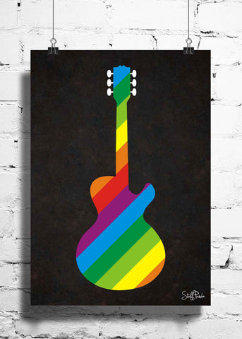 Cool Funky Music Multi color Guitar wall posters, art prints, stickers decals single black