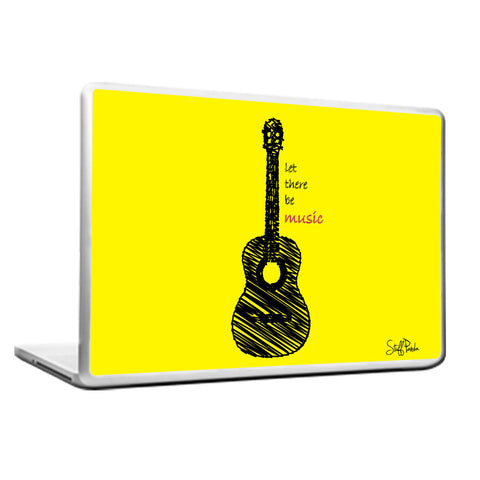Cool Funky Music Yellow Guitar Laptop skin vinyl decals