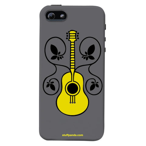 Designer Cool funky Guitar With Flower hard back cover / case for Iphone 5 / 5s