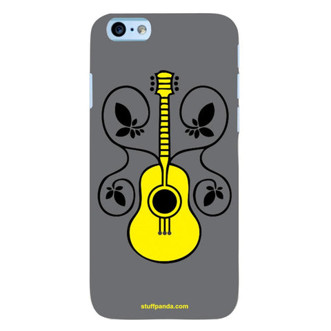 Designer Cool funky Guitar With Flower hard back cover / case for Iphone 6