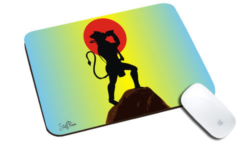 Cool design Mythological Retro Lord Hanuman natural rubber mouse pad - stuffpanda