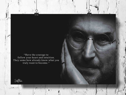 Cool Funky Apple Steve jobs Quote Have Courage wall posters, art prints, stickers decals