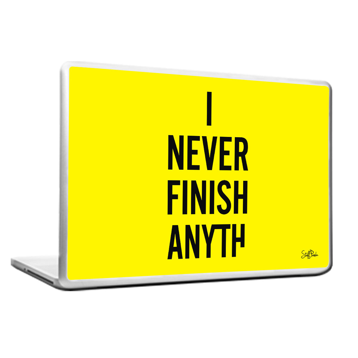 Cool Funky Funny I never Finish Laptop skin vinyl decals Yellow - stuffpanda - 1