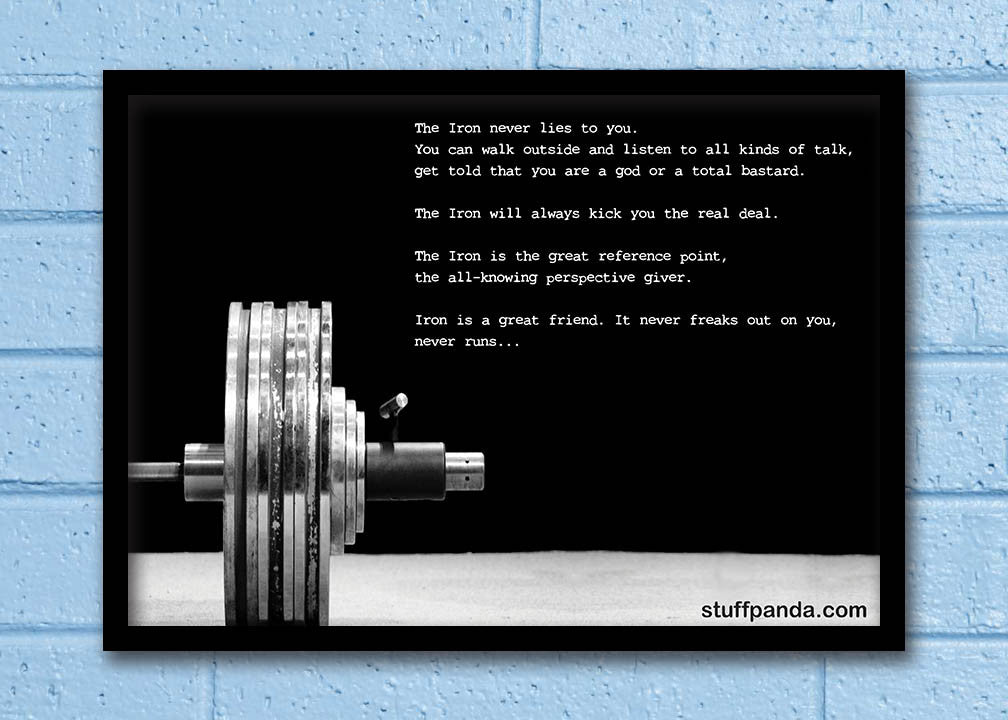 Cool Abstract Motivation Gym workout Iron never Wall Glass Frame posters Wall art - stuffpanda - 1