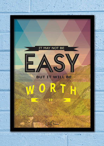 Cool Abstract Motivation It may not b easy Glass frame posters Wall art