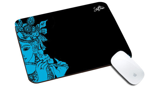 Cool design Abstract Krishna Blue natural rubber mouse pad - stuffpanda