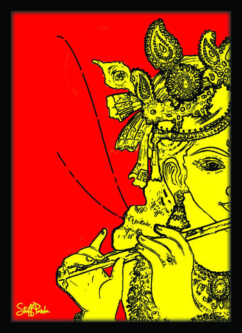 Cool Funky Abstract Krishna Red Glass frame posters Wall art