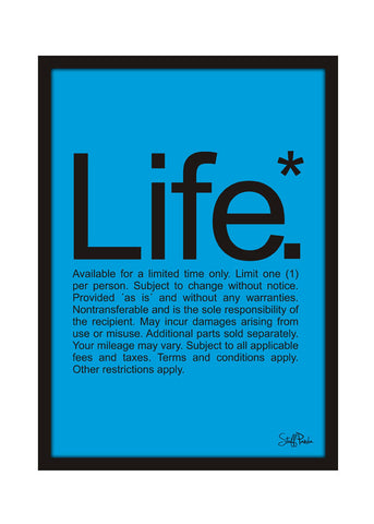 Cool Funky Funny Life Wall Glass Frame posters, Wall art Blue