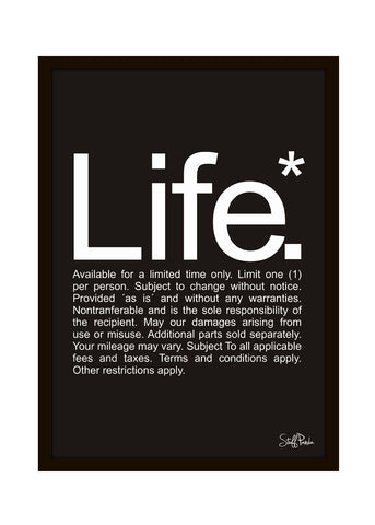 Cool Funky Funny Life Wall Glass Frame posters, Wall art Black n White