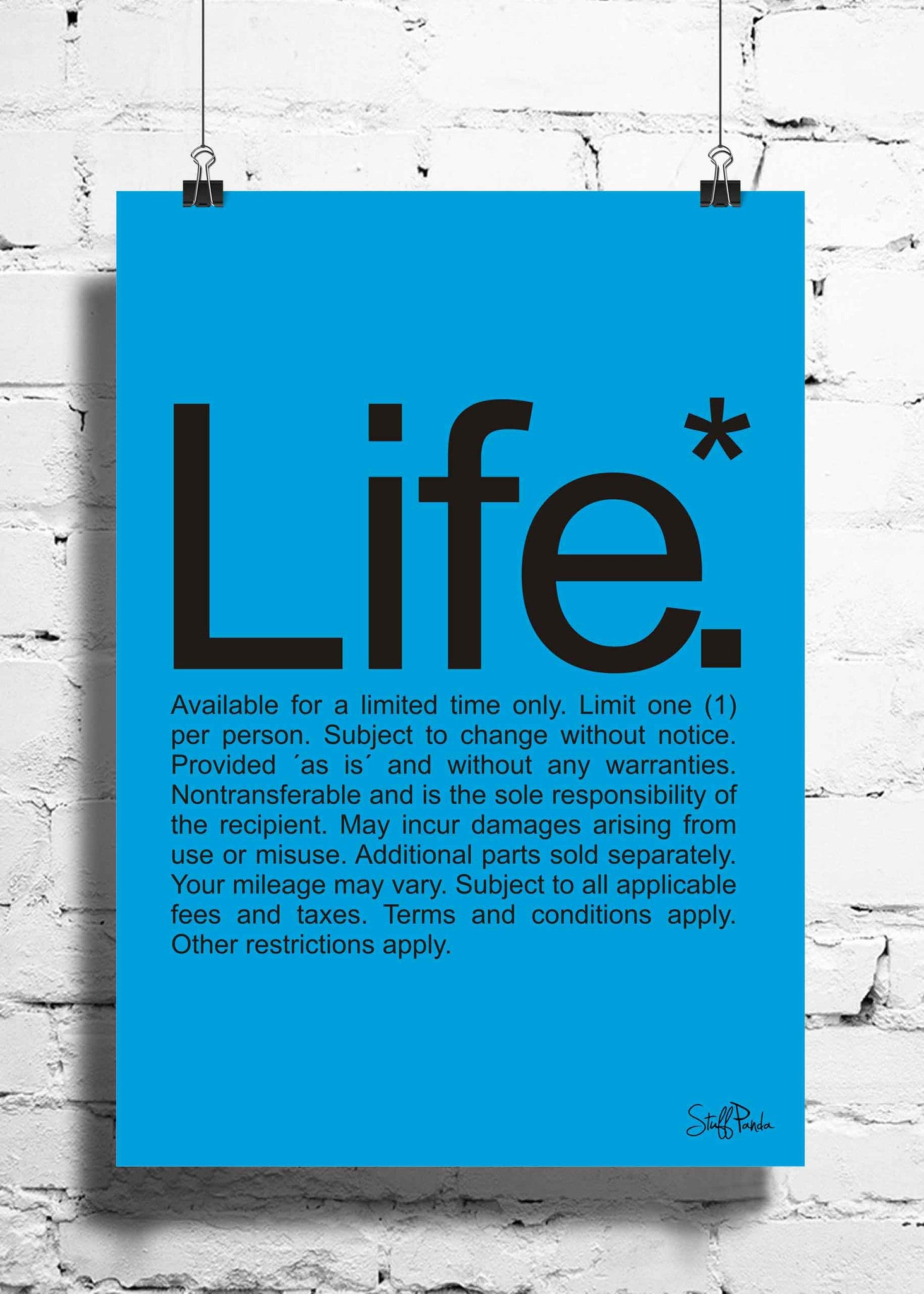 Cool Funky funny Life fine prints wall posters, art prints, stickers decals Blue - stuffpanda - 1