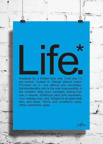 Cool Funky funny Life fine prints wall posters, art prints, stickers decals Blue